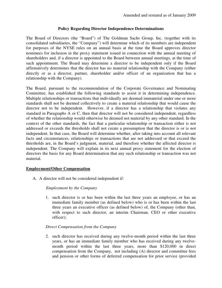 Amended and restated as of January 2009                     Policy Regarding Director Independence Determinations  The Boa...