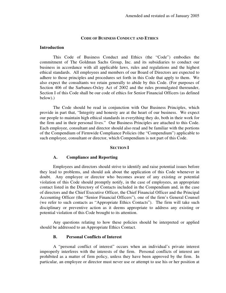Amended and restated as of January 2005                           CODE OF BUSINESS CONDUCT AND ETHICS  Introduction       ...