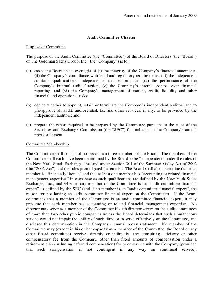 Amended and restated as of January 2009                                       Audit Committee Charter  Purpose of Committe...