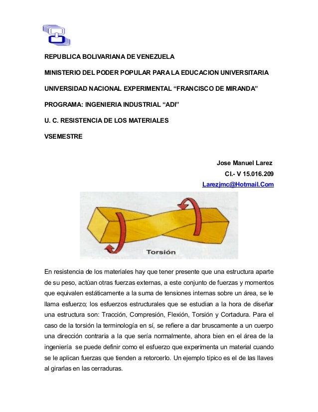 REPUBLICA BOLIVARIANA DE VENEZUELA  MINISTERIO DEL PODER POPULAR PARA LA EDUCACION UNIVERSITARIA  UNIVERSIDAD NACIONAL EXP...