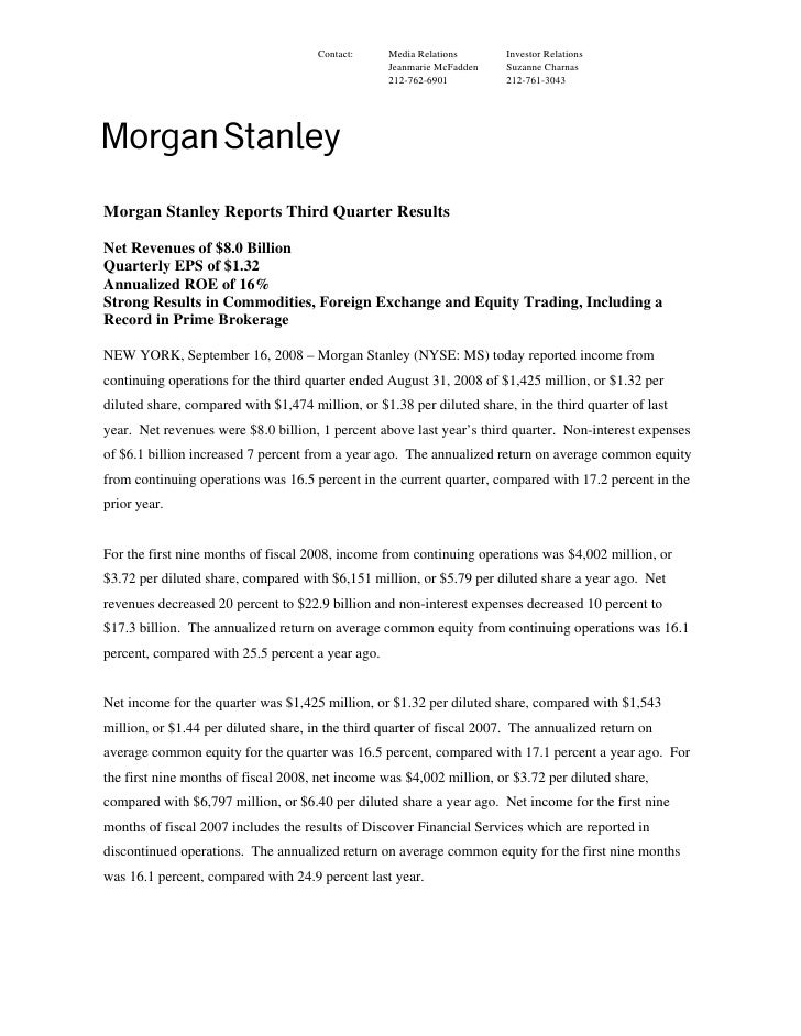 morgan stanley Earnings Archive 2008 3rd