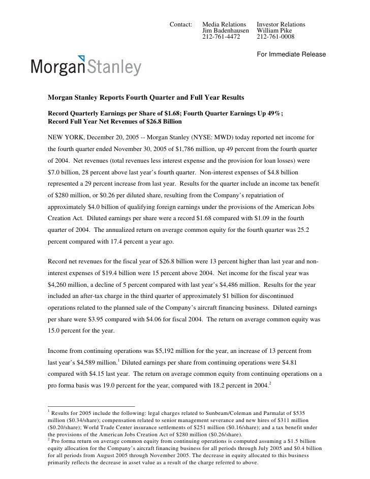 morgan stanley Earnings Archive 2005 4th