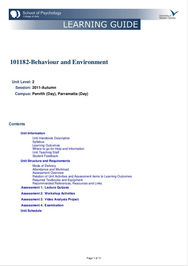 101182 behaviour and environment (2011, autumn)-1