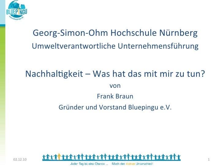 Georg-‐Simon-‐Ohm Hochschule Nürnberg                Umweltverantwortliche Unternehmensführung                ...