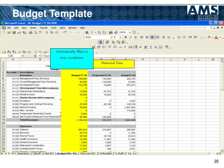 budget template automatically filled in from worksheets historical ...