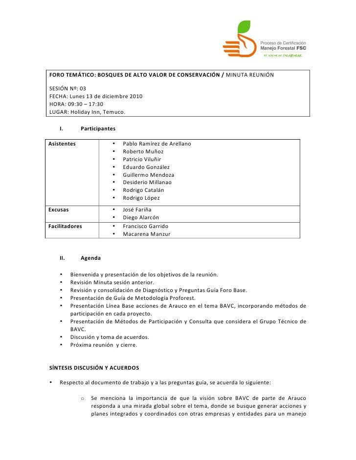 FORO TEMÁTICO: BOSQUES DE ALTO VALOR DE CONSERVACIÓN / MINUTA REUNIÓN  SESIÓN Nº: 03 FECHA:...