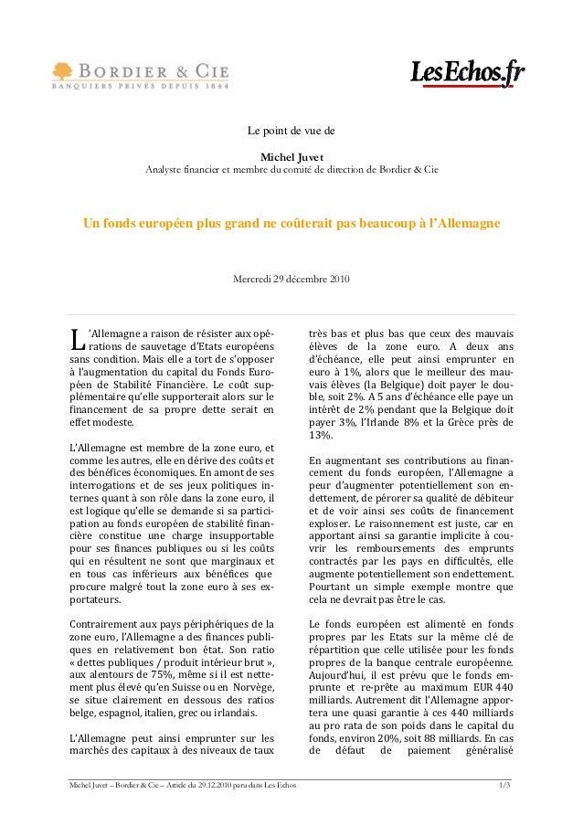 Le point de vue de                                                            Michel Juvet                       Analyste ...