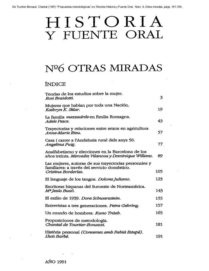 """De Tourtier-Bonazzi, Chantal (1991) """"Propuestas metodológicas"""" en: Revista Historia y Fuente Oral, Núm. 6, Otras miradas, ..."""