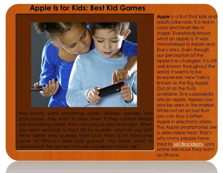 Apple Is for Kids: Best Kid Games