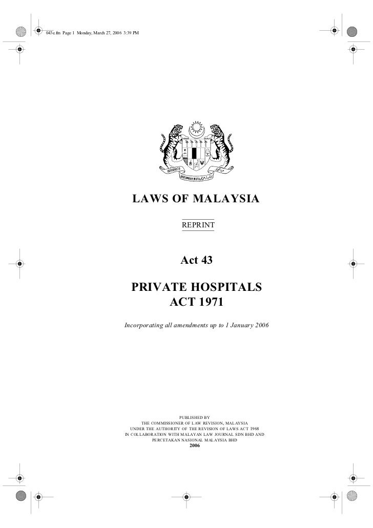 043e.fm Page 1 Monday, March 27, 2006 3:39 PM                                         LAWS OF MALAYSIA                    ...
