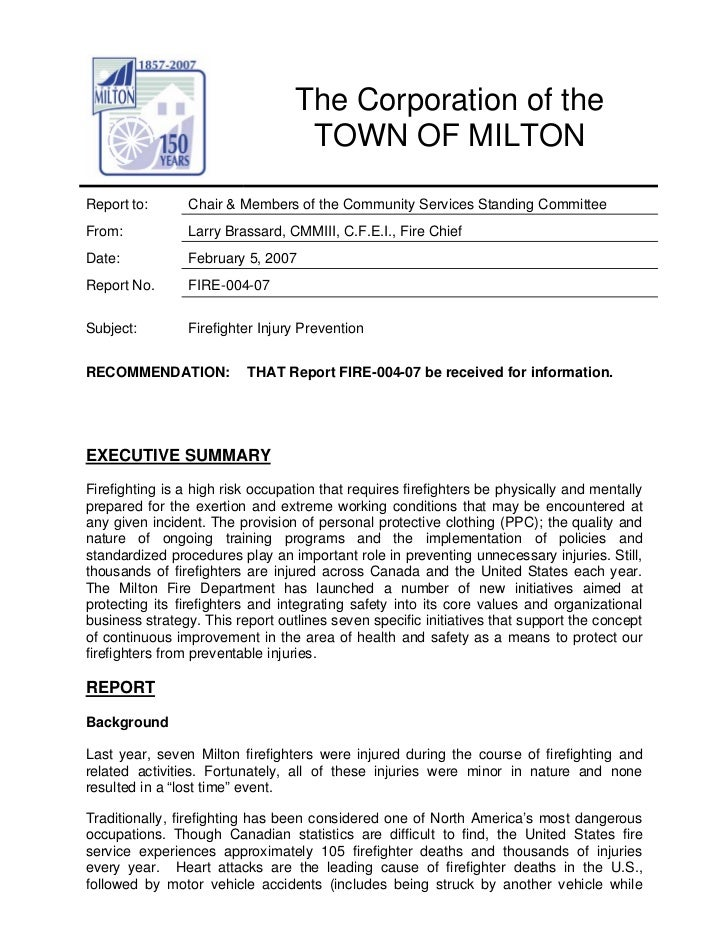 The Corporation of the                                   TOWN OF MILTONReport to:      Chair & Members of the Community Se...