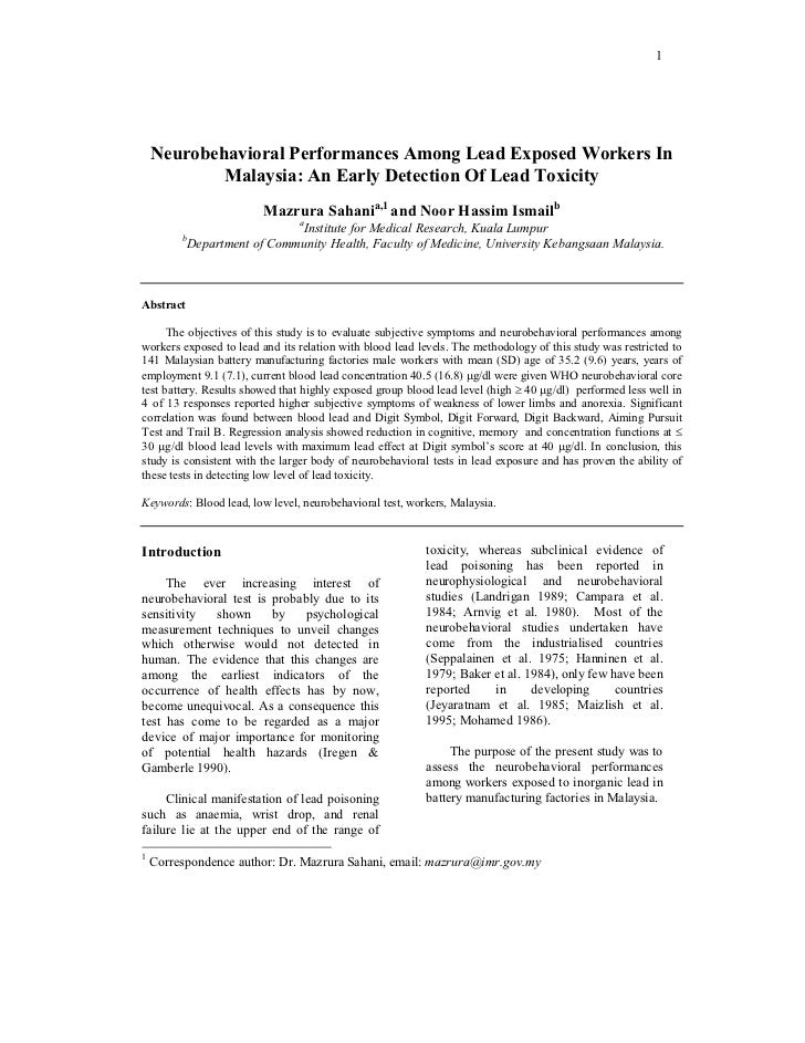 1    Neurobehavioral Performances Among Lead Exposed Workers In            Malaysia: An Early Detection Of Lead Toxicity  ...
