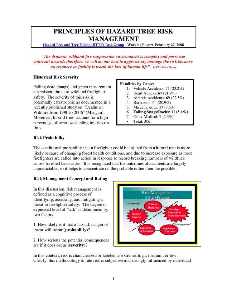 PRINCIPLES OF HAZARD TREE RISK                    MANAGEMENT     Hazard Tree and Tree Felling (HTTF) Task Group - Working ...