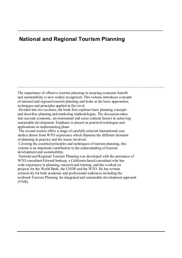 _____________________________________________________________National and Regional Tourism Planning_______________________...