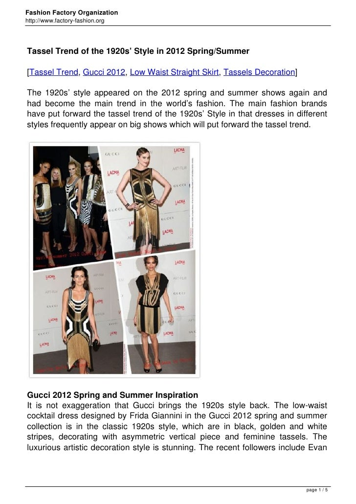 Fashion Factory Organizationhttp://www.factory-fashion.orgTassel Trend of the 1920s' Style in 2012 Spring/Summer[Tassel Tr...