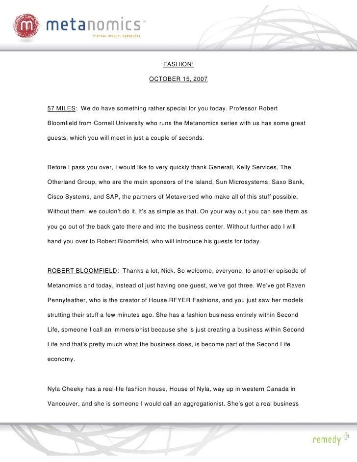 101507 Fashion Metanomics Transcript