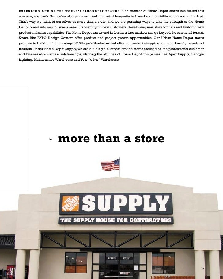 home depot annual report project Student name: derek spaulding date:_6/20/2015 accounting 201 – introduction to accounting annual report project go to home depot 2013 annual report using the 2013 home depot annual report, a nswer (fully) the following questions in the answer boxes below using ms word (do not manually write your answers.