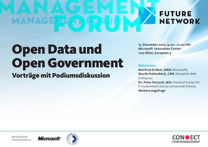 Open Data und                                 13. Dezember 2010, 9.00 – 12.00 Uhr                                 Microsof...