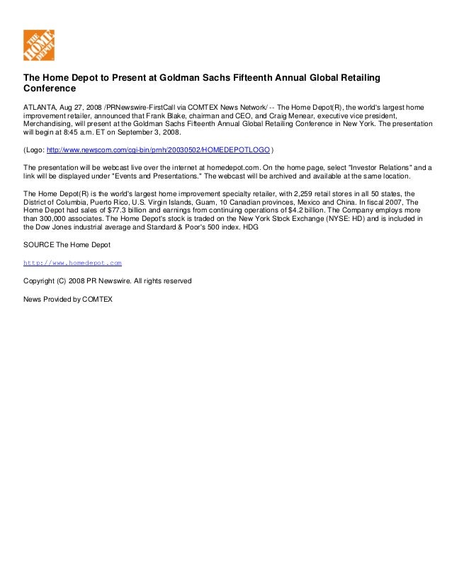 The Home Depot to Present at Goldman Sachs Fifteenth Annual Global Retailing Conference