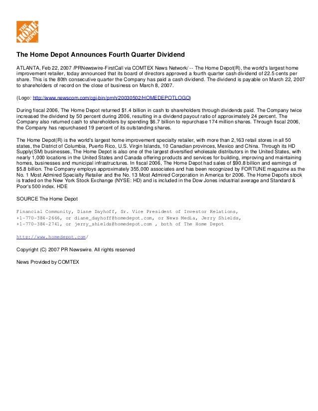 The Home Depot Announces Fourth Quarter Dividend ATLANTA, Feb 22, 2007 /PRNewswire-FirstCall via COMTEX News Network/ -- T...