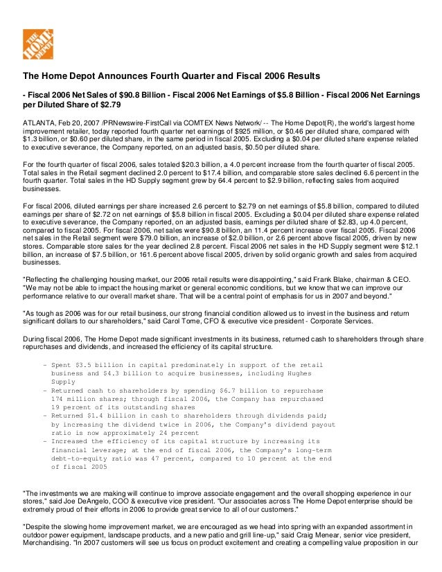 View Summary  The Home Depot Announces Fourth Quarter and Fiscal 2006 Results