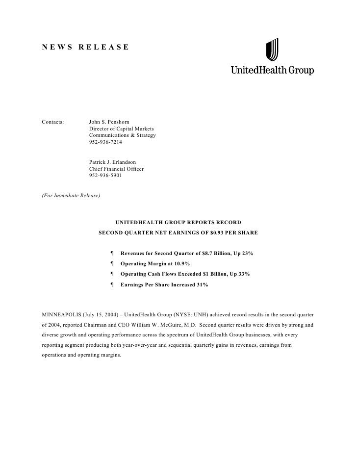 United Health Group Earnings Release