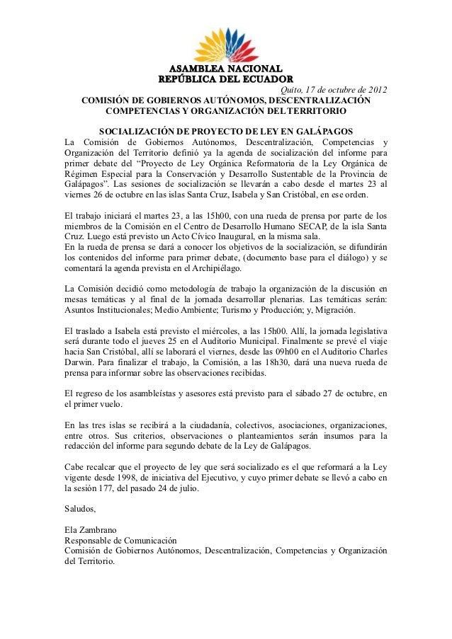 Socialización de Proyecto reformatorio a Ley Especial de Galápagos
