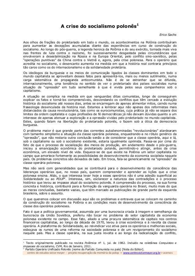centro de estudos victor meyer - projeto recuperação da memória da polop – www.centrovictormeyer.org.br > acervos A crise ...