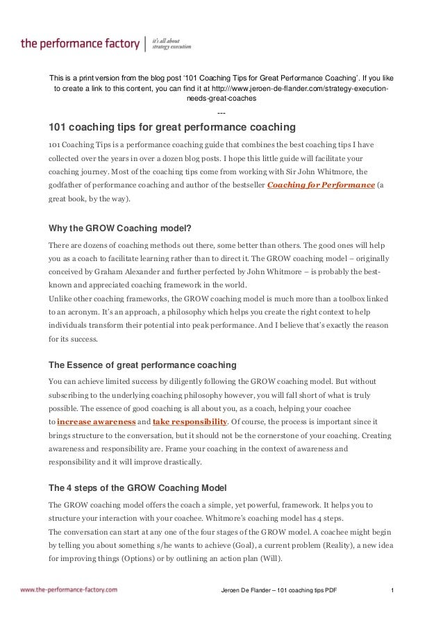 Jeroen De Flander – 101 coaching tips PDF 1 This is a print version from the blog post '101 Coaching Tips for Great Perfor...