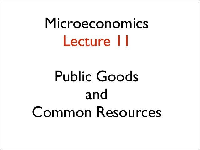 Microeconomics Lecture 11 !  Public Goods   and  Common Resources