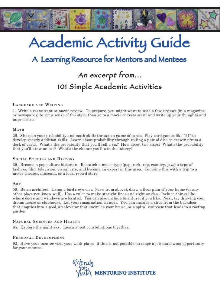 Academic Activity Guide           A Learning Resource for Mentors and Mentees                                     An excer...