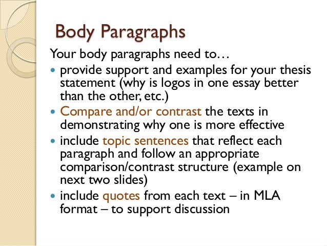 thesis example for compare and contrast essay