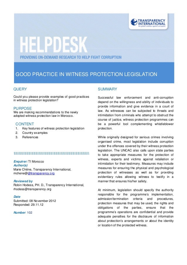 GOOD PRACTICE IN WITNESS PROTECTION LEGISLATIONQUERYCould you please provide examples of good practicesin witness protecti...