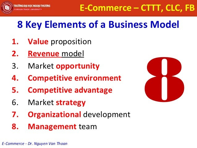 the 8 key elements of the business model for ecommerce The two principal components of the business model are the value  this is an important exercise because it can help you sort through some critical issues in  8, no 2 (july 1998), p 4 a business model is the method of doing business by which a  for example, in e-commerce: business, technology, society, kenneth .