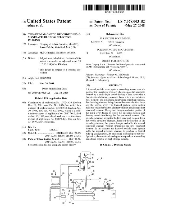 c12) United States Patent Athas et al. (54) THIN-FILM MAGNETIC RECORDING HEAD MANUFACTURE USING SELECTIVE IMAGING (75) Inv...