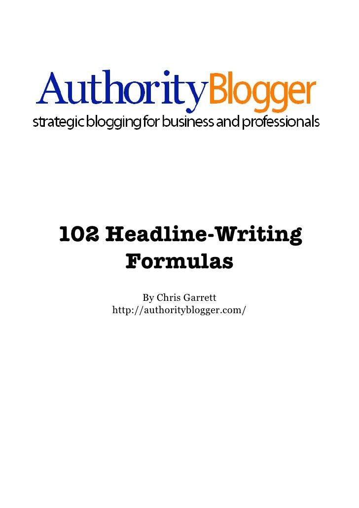 102 Headline Formulas