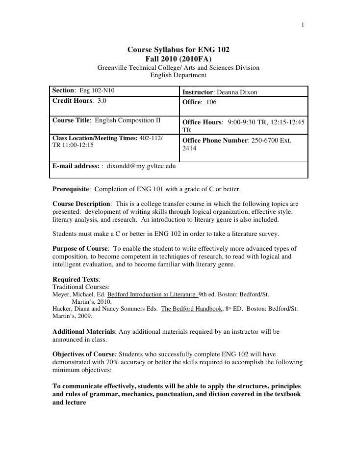 1                             Course Syllabus for ENG 102                               Fall 2010 (2010FA)                ...