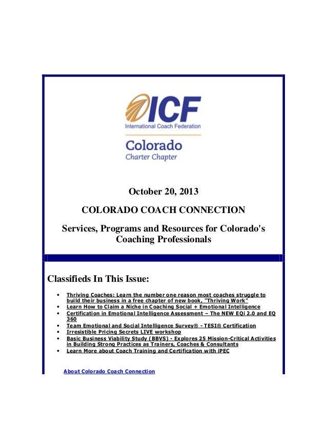 October 20, 2013 Colorado Coach Connection
