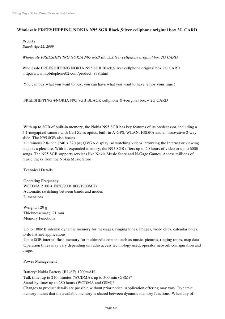 PRLog.Org - Global Press Release Distribution        Wholesale FREESHIPPING NOKIA N95 8GB Black,Silver cellphone original ...