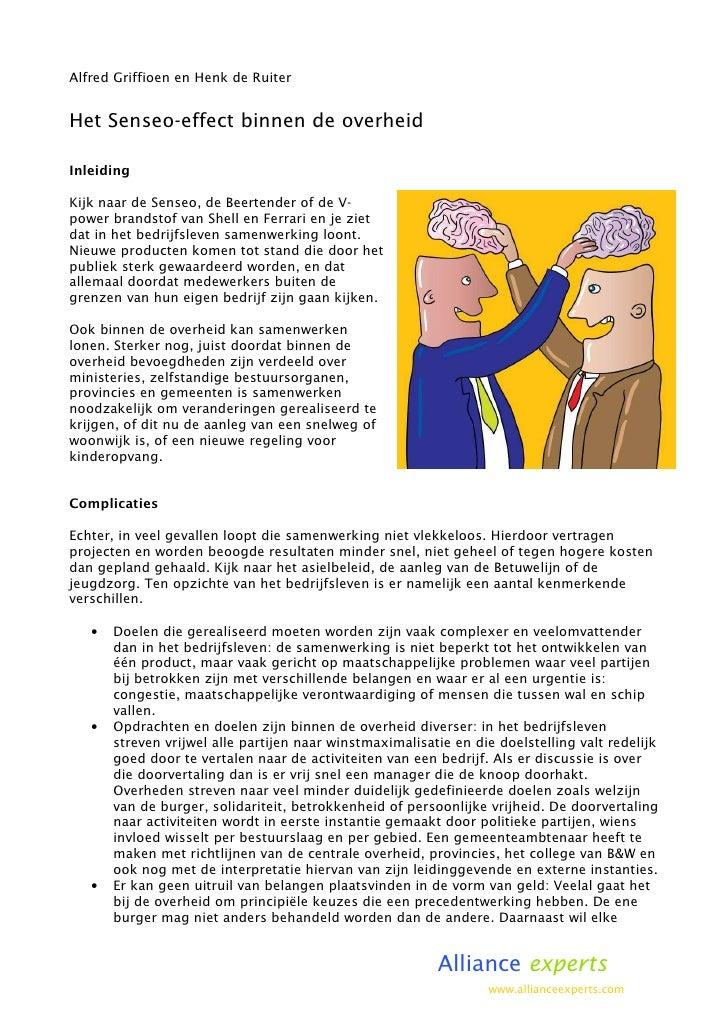 Samenwerken tussen overheden - Werkwijze voor een Senseo effect