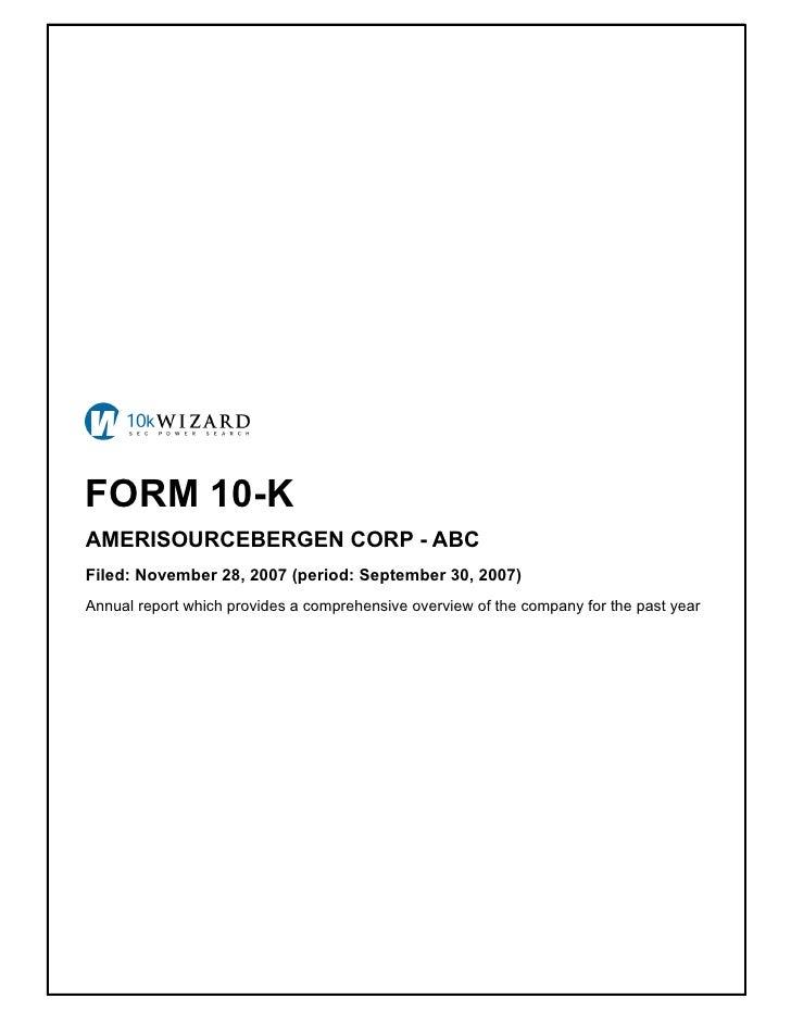 amerisoureceBergen Form 10-K for 2007