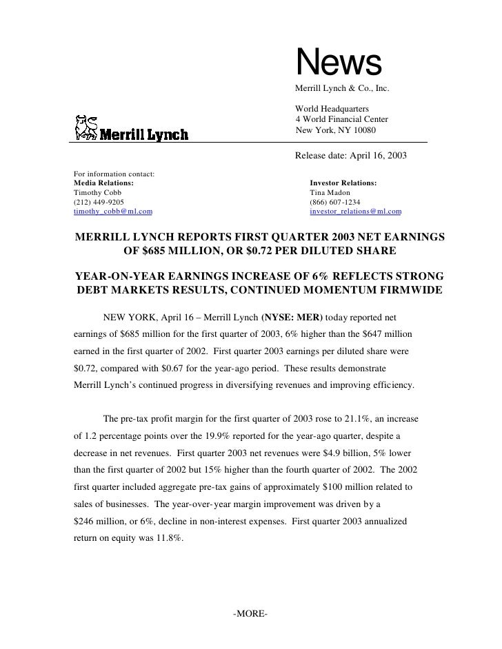 Merrill lynchHistorical Earnings Announcements 2003 1st