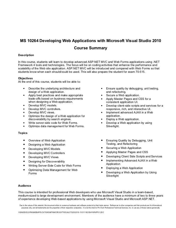 10264 developing web applications with microsoft visual studio 2010