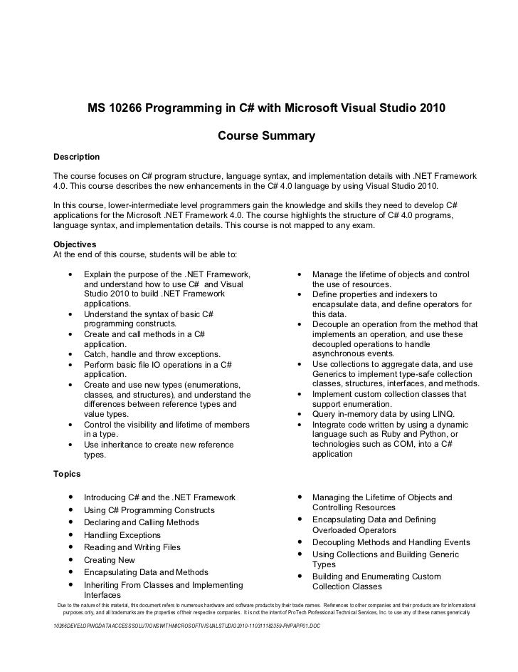 MS 10266 Programming in C# with Microsoft Visual Studio 2010                                                              ...