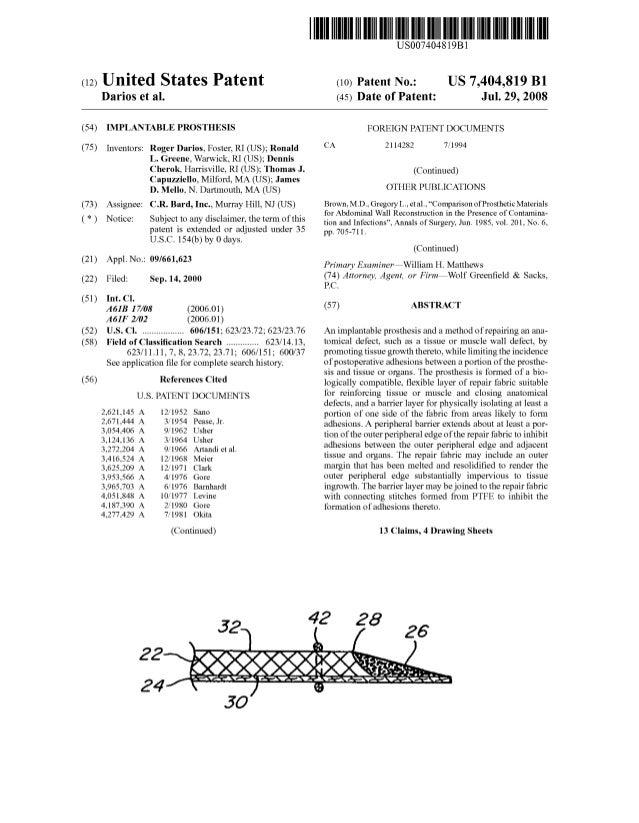 c12) United States Patent Darios et al. (54) IMPLANTABLE PROSTHESIS (75) Inventors: Roger Darios, Foster, RI (US); Ronald ...