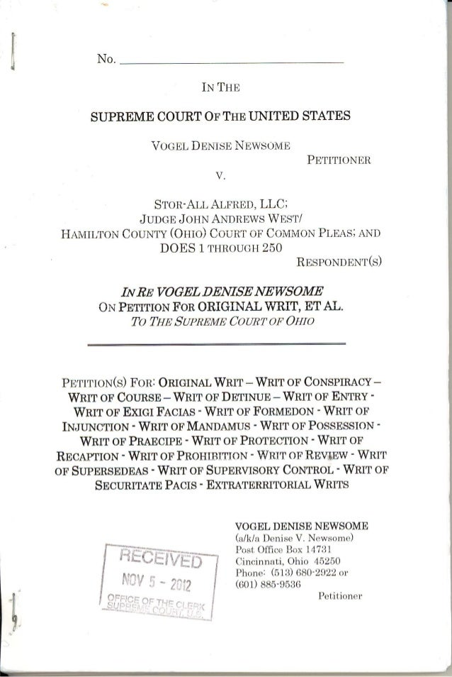 10/30/12 PETITION FOR ORIGINAL WRIT, et al. (U.S. Supreme Court) - Received 11/05/12