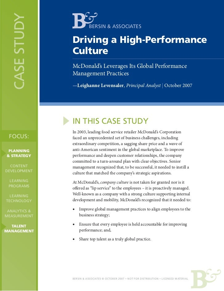 CASE STUDY             BERSIN & ASSOCIATES                Driving a High-Performance                Culture               ...