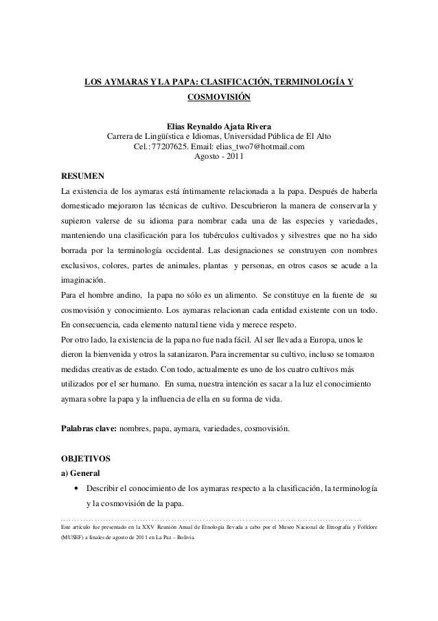 LOS AYMARAS Y LA PAPA: CLASIFICACIÓN, TERMINOLOGÍA Y                                                    COSMOVISIÓN       ...
