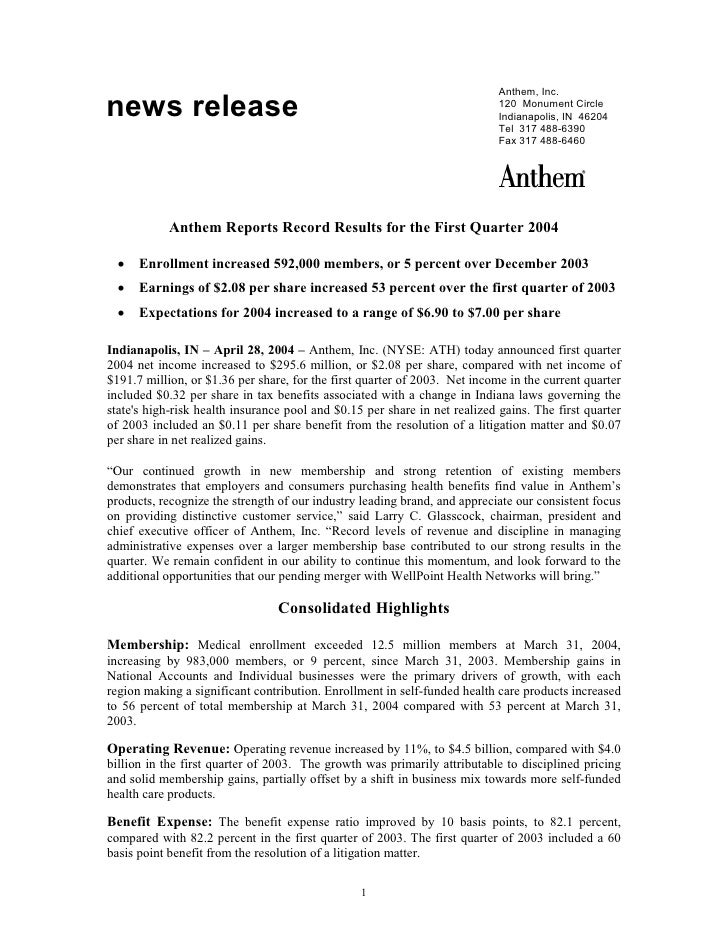 Anthem Reports Record Results for the First Quarter 2004