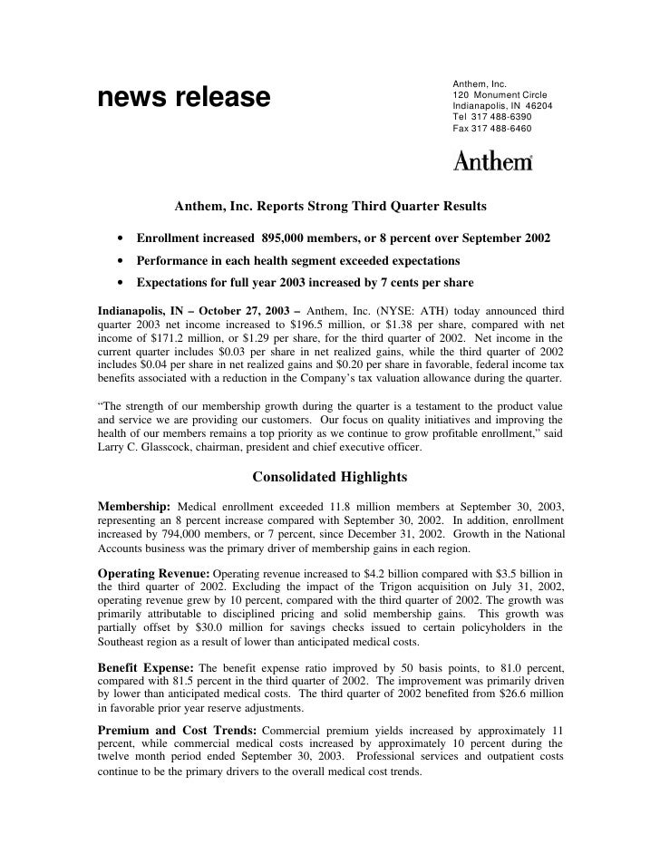 Anthem, Inc. Reports Strong Third Quarter Results